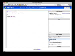 EthaPad collaborative javascript editing